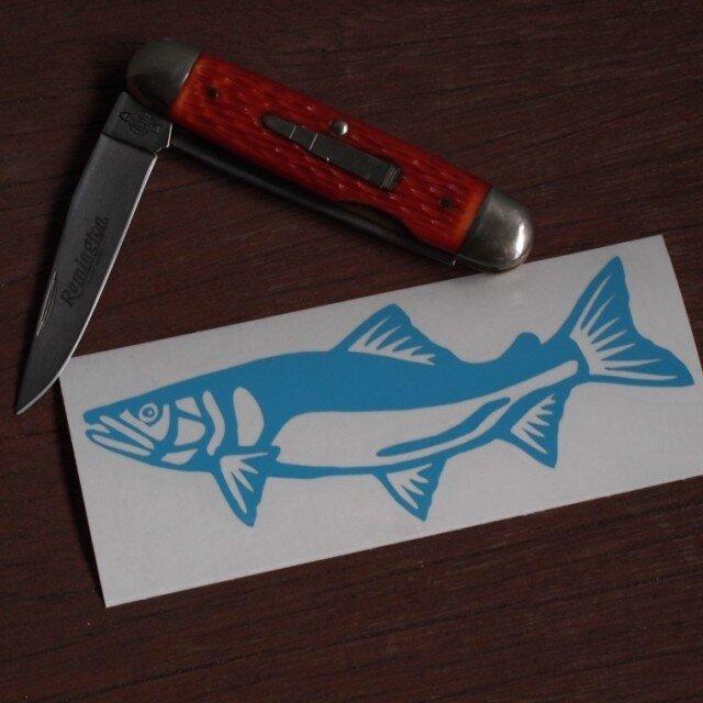 切り絵ステッカー アユ(水色)の画像1枚目