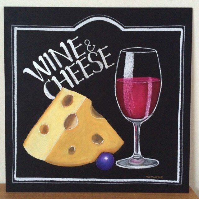 チョークアート ワインとチーズの画像1枚目