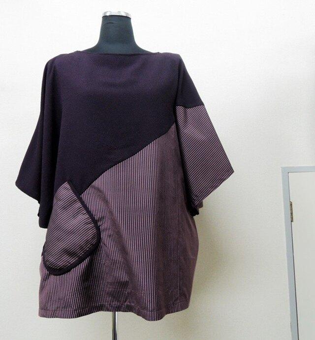 着物リメイク◇丹後縮緬◇大島紬◇チュニック◇紫の画像1枚目
