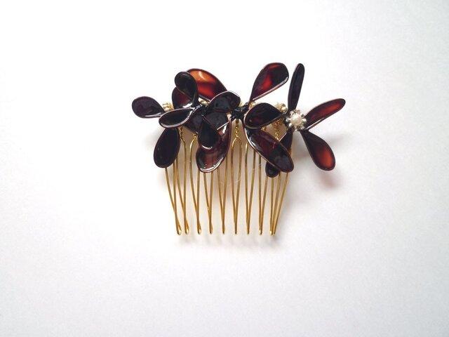 髪飾り*sepia flower color コームSの画像1枚目