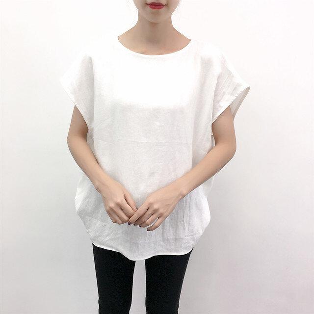 en-enフランスリネン・バイオウオッシュ・コクーンプルオーバー・オフホワイト(麻,ハンドメイド,婦人服,の画像1枚目