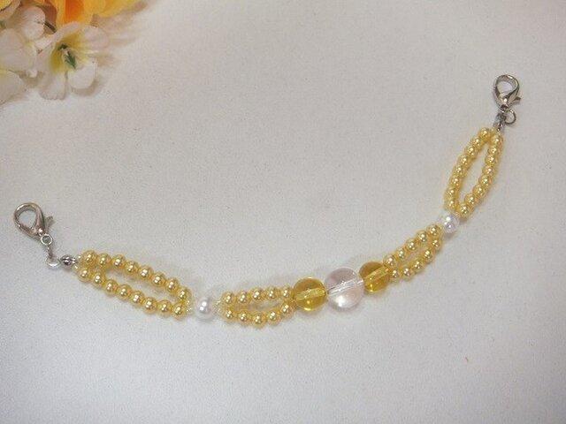 羽織紐◆天然石シトリンと水晶。o〇の画像1枚目