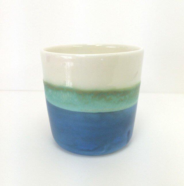 Meoto cup / M (White/turquoise)の画像1枚目