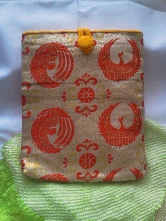 帯地で作った小物袋(つる 芥子)の画像1枚目