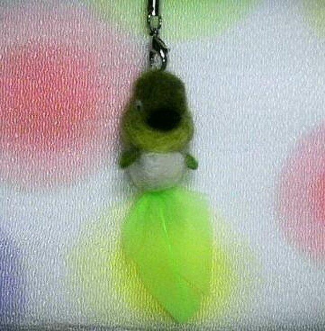 羊毛フェルトdeストラップ オタマメジロの画像1枚目