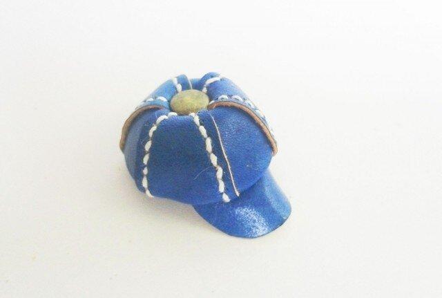 手縫いのミニチュアキャスケット(ブルー)の画像1枚目