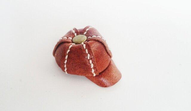 手縫いのミニチュアキャスケット(ブラウン)の画像1枚目
