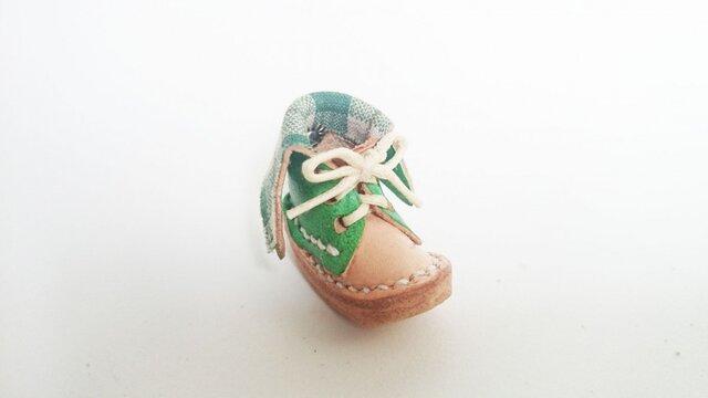手縫いのミニチュア折り返しブーツ(緑×チェック)の画像1枚目