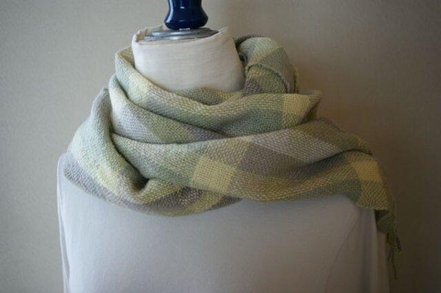 手織りのマフラー(格子柄/緑)の画像1枚目