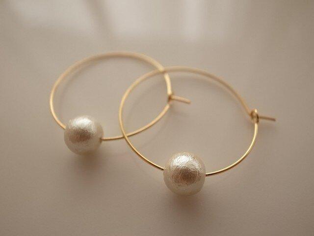 *再販* cotton pearl hoop earringsの画像1枚目
