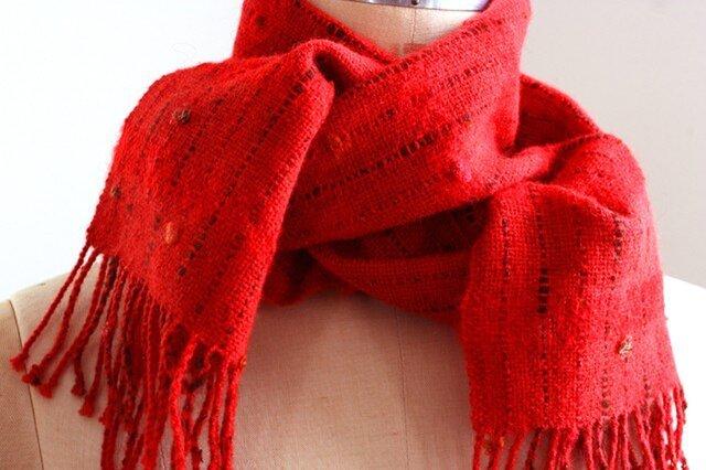 手織り 小花のマフラー   レッド#2の画像1枚目