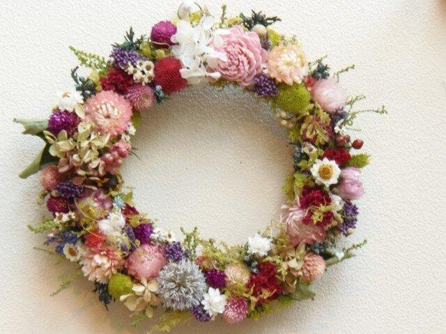 sold 花いっぱいリース ピンクライトグリーンの画像1枚目