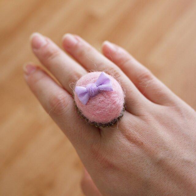 ふわまるリボンのリング(オーバルピンク・パープルリボン)の画像1枚目