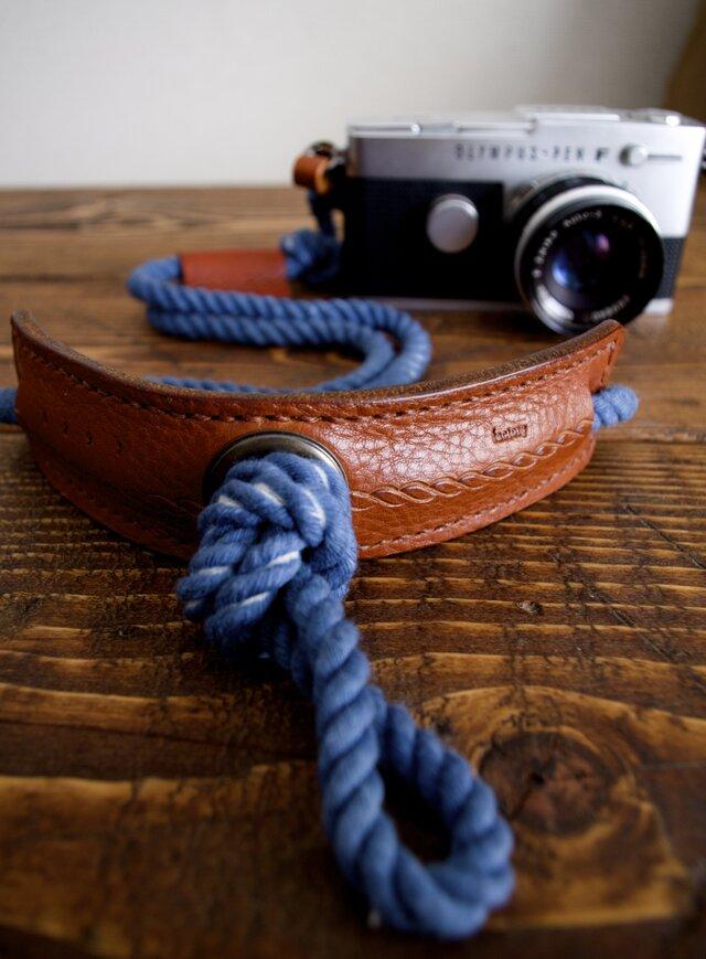 Eight knot カメラストラップ(インディゴ)[受注生産]の画像1枚目