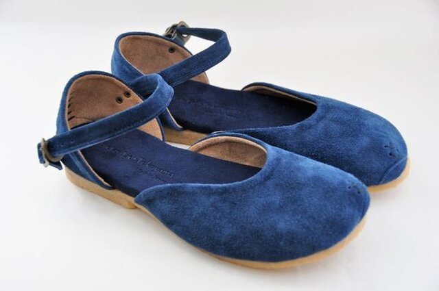 Tokuyama Shoes『plie sandals』navy suede leatherの画像1枚目