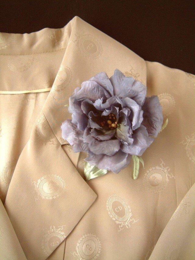 トルコききょう 紫 ⋆ シルクヌメ製 * コサージュ 髪飾りの画像1枚目