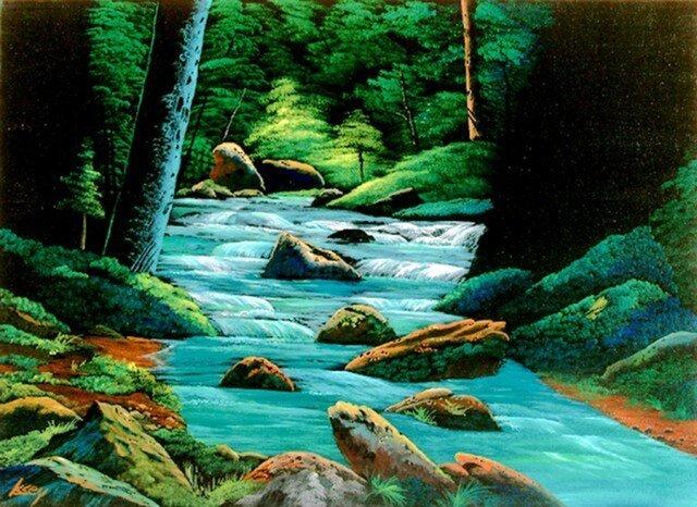 陽のあたる渓流の画像1枚目
