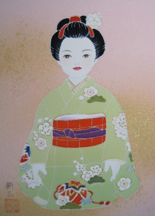 きものを着た女の子手描きの京友禅染 絵のみの画像1枚目
