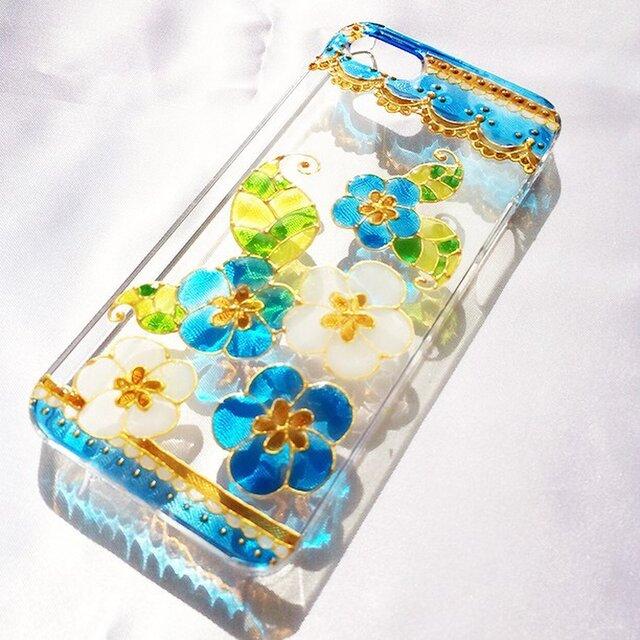 ステンドグラス風iPhoneスマホカバー/青い小花の画像1枚目