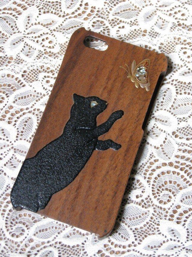 黒猫と蝶蒔絵 iPhone 5/5s ウッドケースの画像1枚目