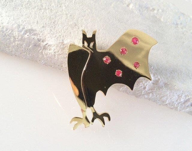 Bat Spineled Wing コウモリ真鍮ブローチの画像1枚目
