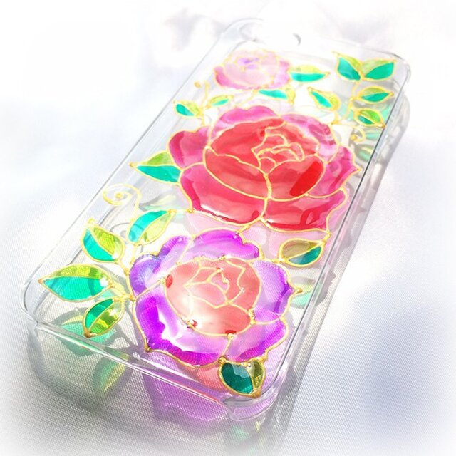ステンドグラス風iPhoneスマホカバー/ローズの画像1枚目