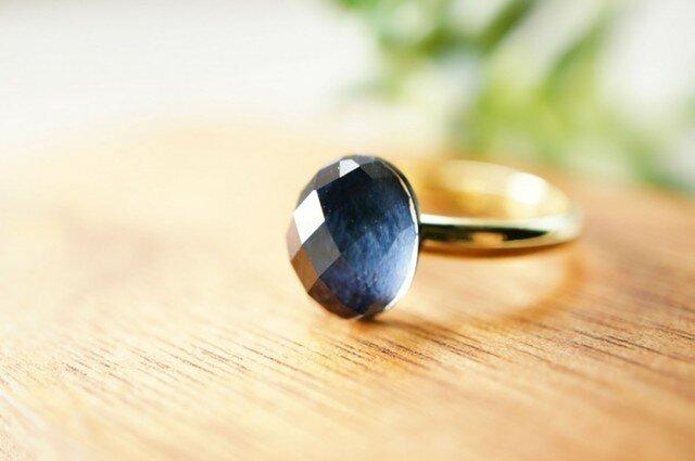 フリーサイズ★青虎目石・水晶のリング ~Kukkaの画像1枚目