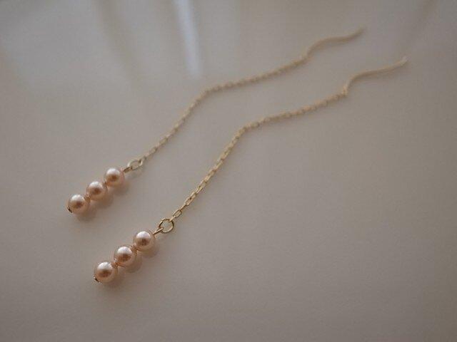 peach pearl chain earringsの画像1枚目