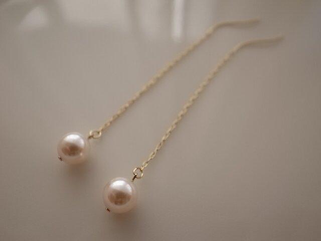 rose pearl chain earringsの画像1枚目