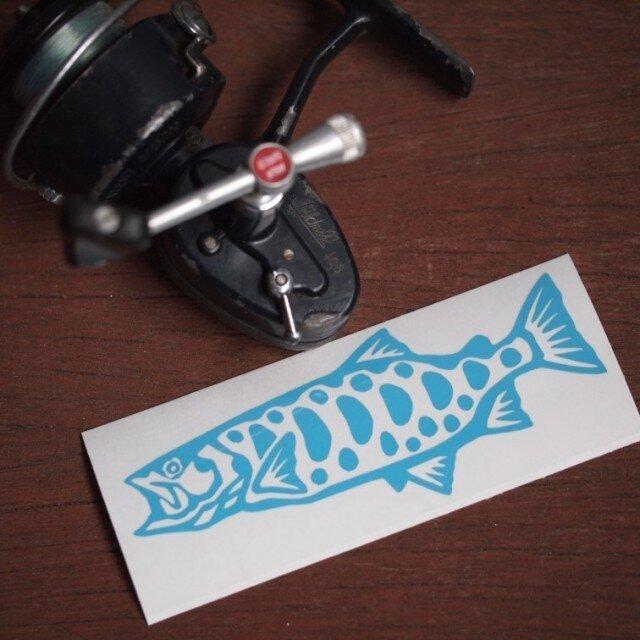切り絵ステッカー ヤマメ(水色)の画像1枚目