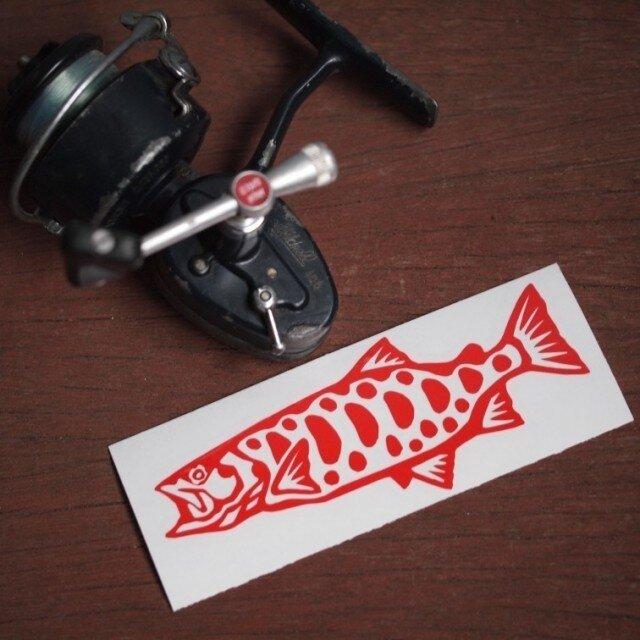 切り絵ステッカー ヤマメ(赤)の画像1枚目