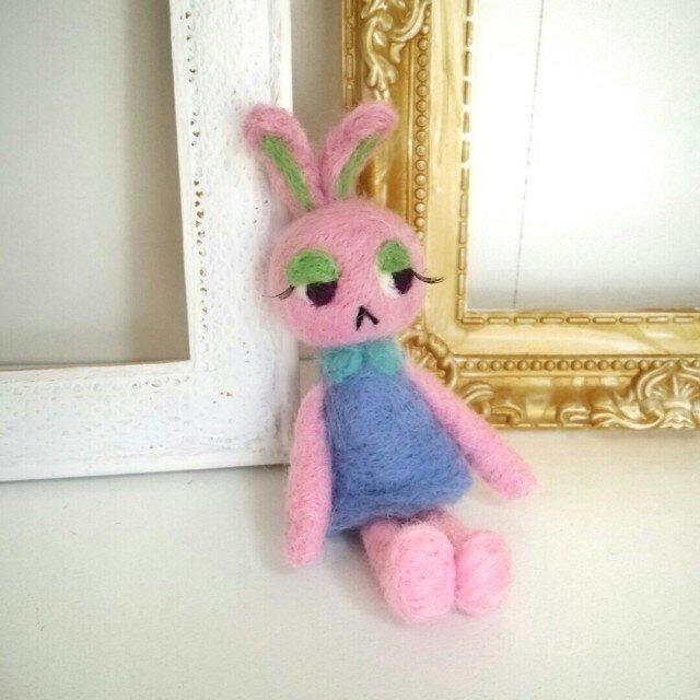 羊毛♪おすまし♪うさぎ♪ピンクの画像1枚目