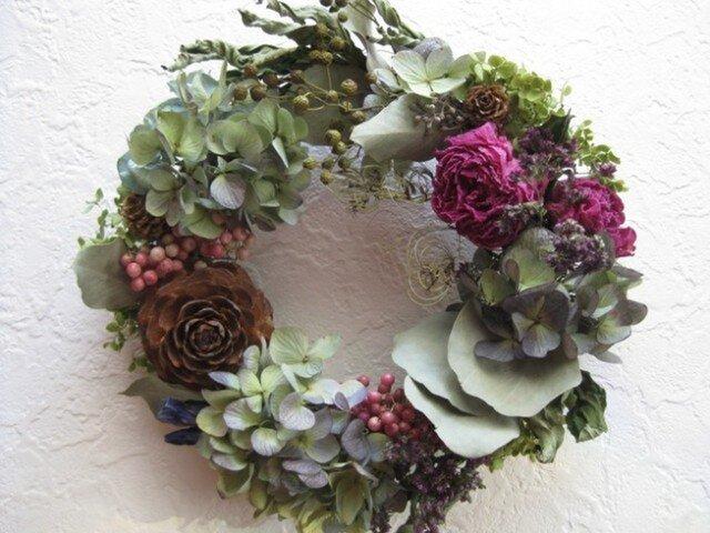 芍薬とアジサイの autumun wreathの画像1枚目