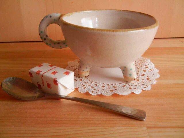 ニャンカップ  No.729:白猫 水玉上絵付の画像1枚目