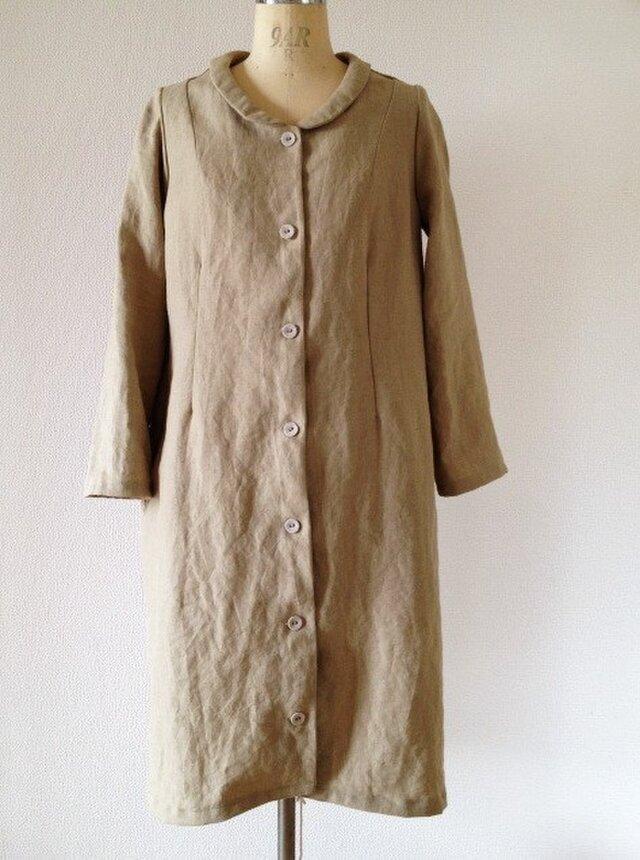 ベルギーリネンのシャツコートの画像1枚目