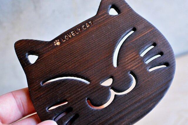 木製 猫コースター(焼ヒノキ)の画像1枚目