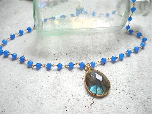 Gemstone Necklace ラブラドライト&カルセドニーの画像1枚目
