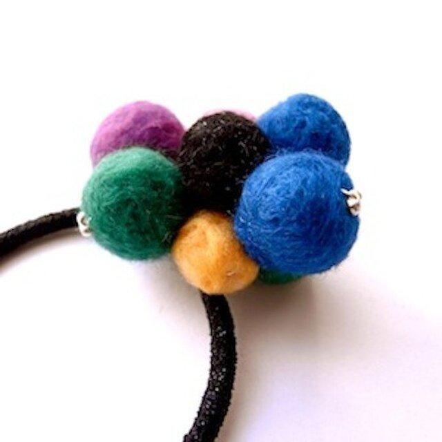 felt balls hair band /multicolorの画像1枚目
