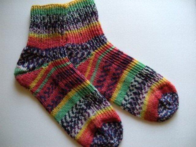ショート丈手編み靴下【フンデルトヴァッサー2102】の画像1枚目