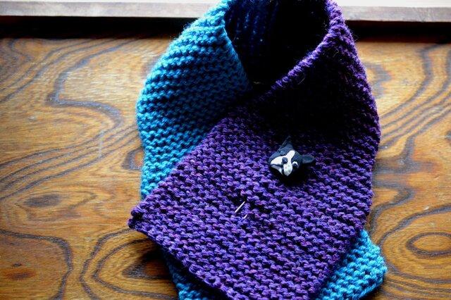 毛糸の襟巻きwith BUHI(空紫)の画像1枚目