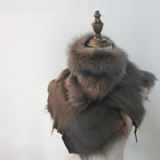 Toscana lambskin scarf Grayの画像1枚目