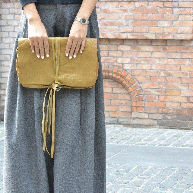 再販Leather fringe clutch bagの画像1枚目