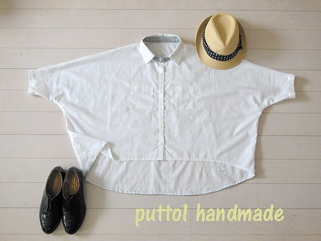 soldout☆白のコットン♪後下がりのビッグシャツ(7分袖)の画像1枚目