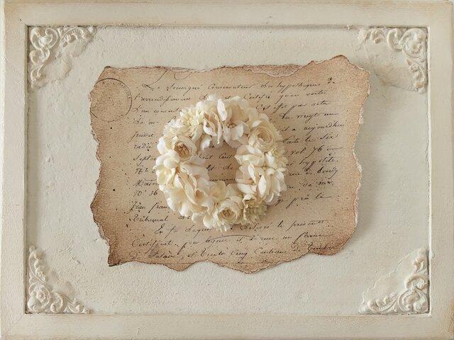 染め花のリースコサージュ(L・オフホワイト)の画像1枚目