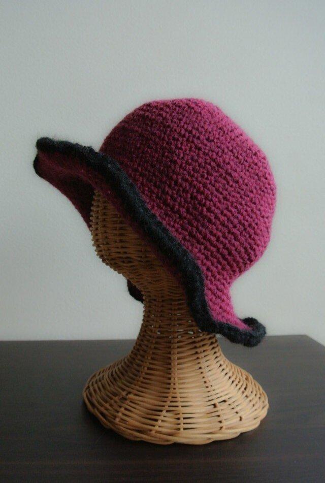 【SALE】冬のプリム帽  * 紅  *の画像1枚目
