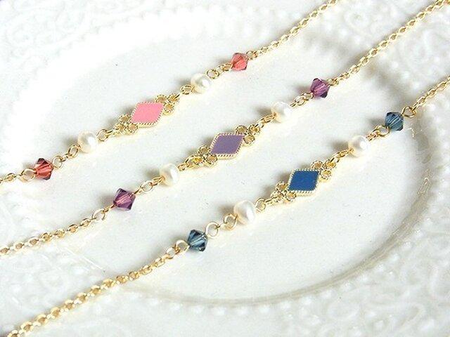 ダイヤとパールのブレスレット deep colorsの画像1枚目