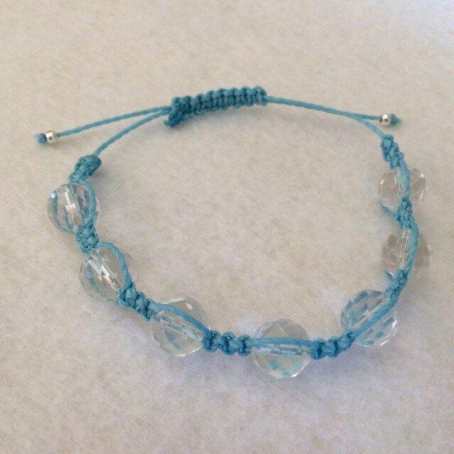 水晶 パワーストーン ブレスレット(ブルー)の画像1枚目