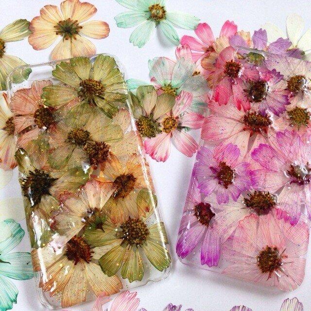 iPhone6 GREEN&PINK 押し花の画像1枚目