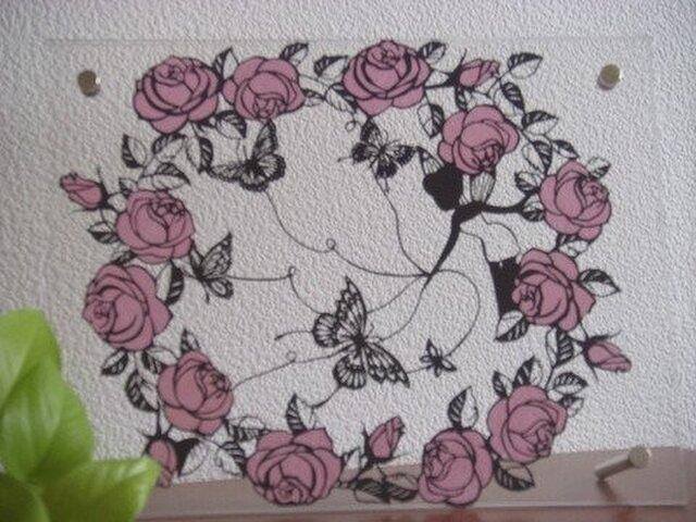 メルヘン切り絵:薔薇と蝶の画像1枚目