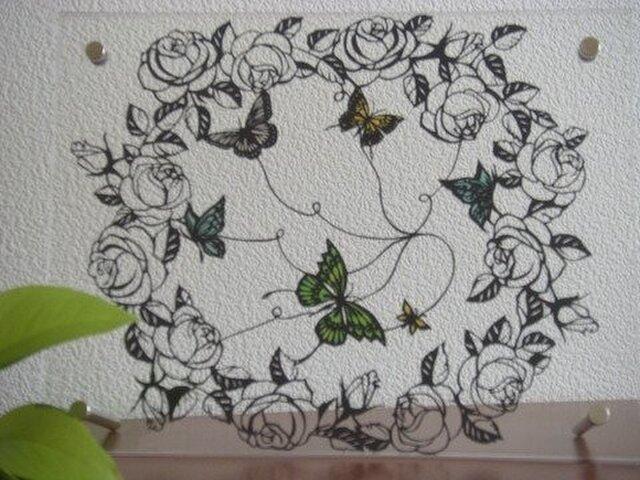 メルヘン切り絵:薔薇と蝶2の画像1枚目
